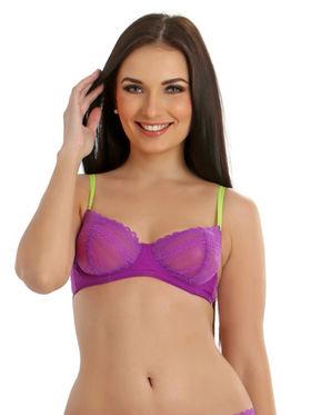 Clovia Blended Plain Bra - Purple - BR0154T12
