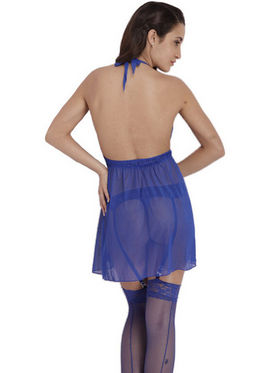 Set of 2 Clovia Blended Plain Nightwear - Blue