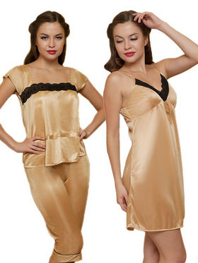Set of 3 Clovia Blended Plain Nightwear - Golden