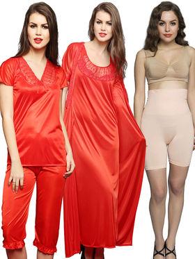 Set of 5 Clovia Satin Plain Nightwear + Shapewear