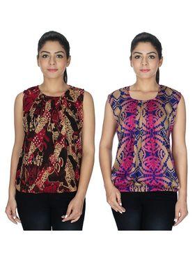 Pack of 2 Sai Arisha Printed Georgette & American Crepe Top -ars133