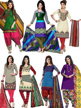 Pack of 7 Priya Fashions Printed Cotton Unstitched Dress Material -PF7S01