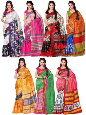 Combo of 7 Adah Fashions Art Silk Printed Saree -ad08