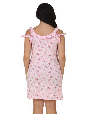 Fasense Shinker Cotton Floral Print Nightwear Short Nighty -DP152B1