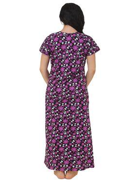 Fasense Shinker Cotton Floral Print Nightwear Long Nighty -DP159A1