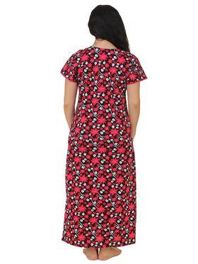 Fasense Shinker Cotton Floral Print Nightwear Long Nighty -DP159B1