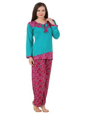 Fasense Shinker Cotton Solid Printed Nightwear Set of Top & Pyjama -DP170A1
