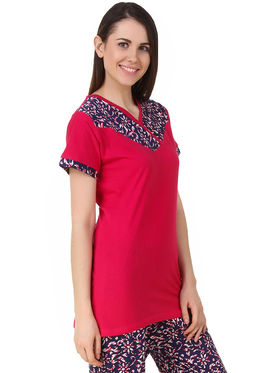 Fasense Solid Floral Print Sinker Cotton Top & Pyjama -Dp191B1