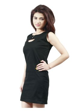 Arisha Cotton Solid Dress DRS1019_Blk