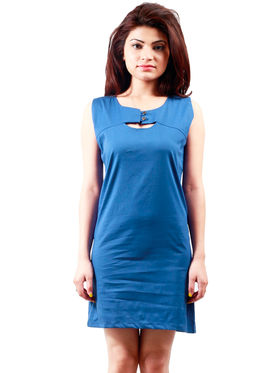 Arisha Cotton Solid Dress DRS1019_Blu