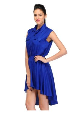 Arisha Viscose Solid Dress DRS1023_Blu