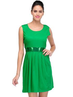 Arisha Viscose Solid Dress DRS1029_Grn