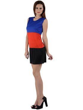 Arisha Viscose Solid Dress DRS1031_Blu-Rd