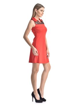 Arisha Viscose Solid Dress DRS1071_Blk-Rd