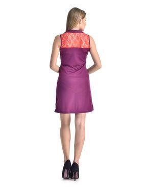 Arisha Viscose Solid Dress DRS1071_Rd-Prpl
