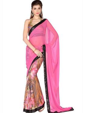 Designersareez Faux Georgette & Crepe Digital Print Saree - Soft Pink & Multicolor