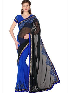 Designersareez Faux Georgette Embroidered Saree - Black & Blue - 1763