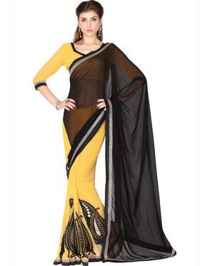 Designersareez Faux Georgette Embroidered Saree - Black & Yellow - 1778