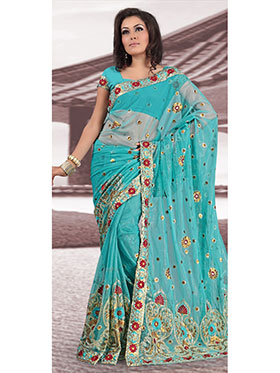 Designer Sareez Embroidered Net Saree - Teal