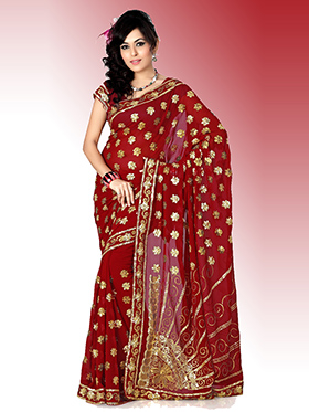 Embroidered Faux Georgette Saree - Maroon-478