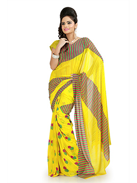 Printed Chiffon Saree - Yellow-937