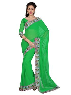 Designer Sareez Faux Georgette Printed Saree - Green - 1597