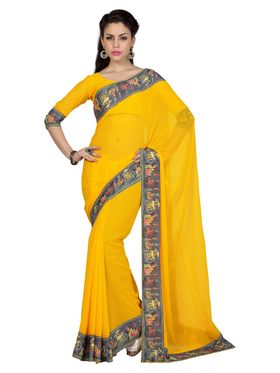 Designer Sareez Faux Georgette Printed Saree - Yellow - 1598