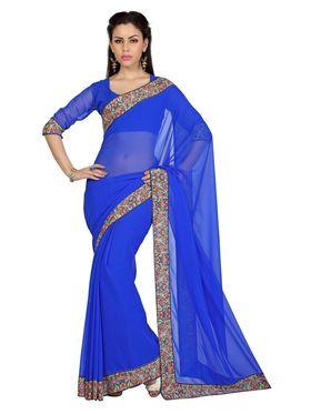 Designer Sareez Faux Georgette Printed Saree - Blue - 1601