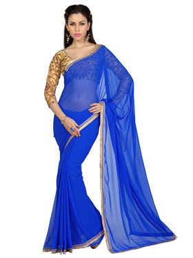 Designer Sareez Faux Georgette Embroidered Saree - Royal Blue - 1618
