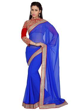 Designer Sareez Faux Georgette Embroidered Saree - ROYAL BLUE - 1631