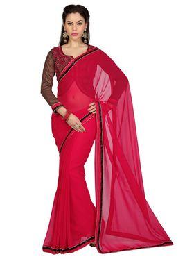 Designer Sareez Faux Georgette Embroidered Saree - Red - 1632
