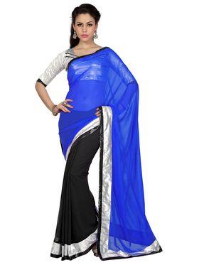 Designer Sareez Faux Georgette Embroidered Saree - Royal Blue & Black - 1653