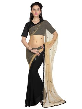 Designer Sareez Faux Georgette & Net Embroidered Saree - Beige & Black - 1657