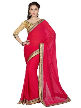 Designer Sareez Chiffon Embroidered Saree - Red - 1714