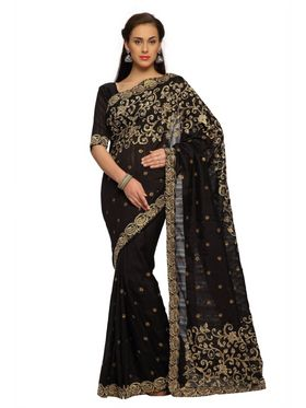 Designer Sareez Bhagalpuri silk Embroidered Saree - Black