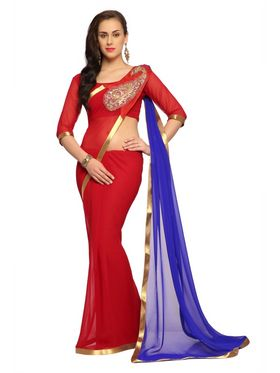 Designer Sareez Faux georgette Embroidered Saree - Red and Blue