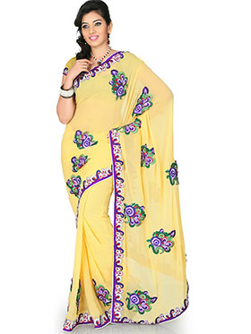 Designer Sareez Embroidered Faux Georgette Saree - Yellow-1178