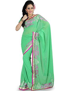 Designer Sareez Embroidered Chiffon Saree - Green-882