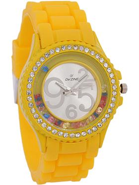 Dezine Wrist Watch for Women - Silver_DZ-LR060-YEL-YEL
