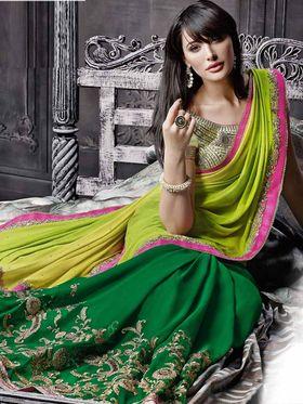 Viva N Diva Georgette Embroidered Saree -Dramatic-5093