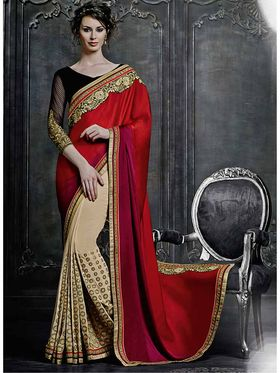 Viva N Diva Satin Georgette Embroidered Saree -Dramatic-5096