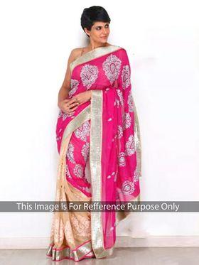 Ethnic Trend Chiffon Embroidered Saree - Pink & Cream