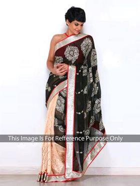 Ethnic Trend Chiffon Embroidered Saree - Black & Cream