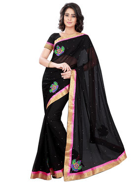 Florence Faux Georgette  Embroidered  Sarees FL-10936