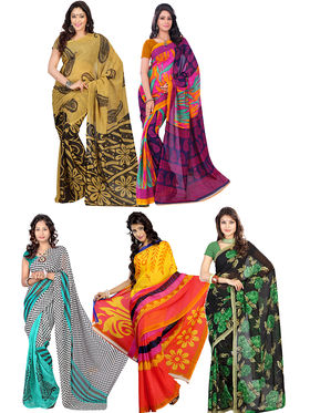 Pack of 5 Florence Printed Faux Georgette Sarees fs09