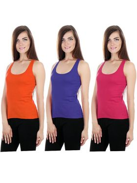 Pack of 3 Fizzaro Solid Hosiery Tank Tops -fzt03