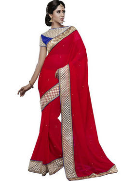 Bahubali Georgette Embroidered Saree - Red