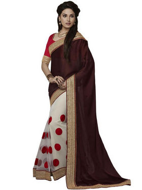 Bahubali Chiffon Embroidered Saree - Wine