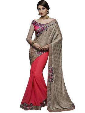 Bahubali Silk Jacquard Embroidered Saree - Chickoo