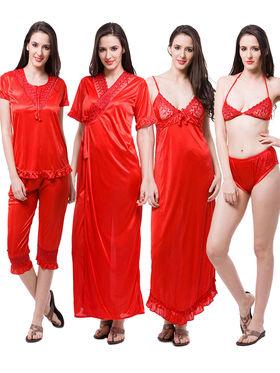 Pack of 6 Fasense Satin Plain Nightwear - DP116 C